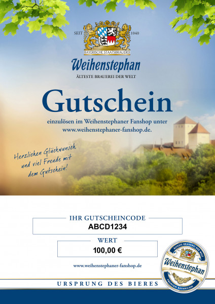 Weihenstephan Fanshop Gutschein 100 Euro
